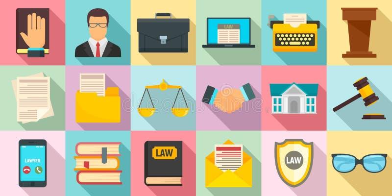 Набор значков юриста, плоский стиль бесплатная иллюстрация