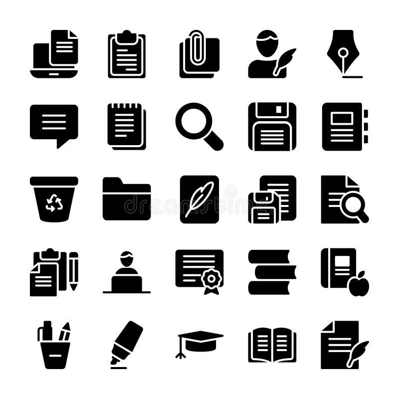 Набор значков Copywriting твердый иллюстрация штока