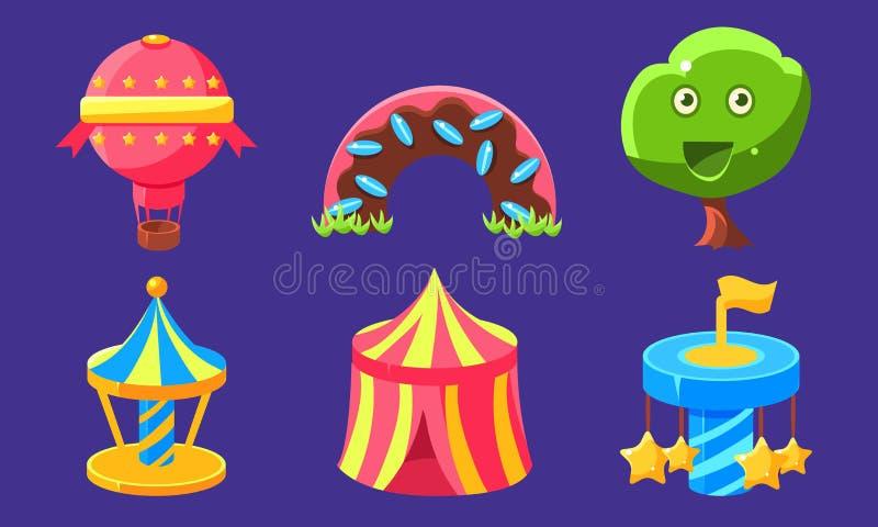 Набор значков Fantasy Amusement Park, Fairytal Landscape Elements для Computer или Mobile Game Interface Vector Иллюстрация иллюстрация вектора