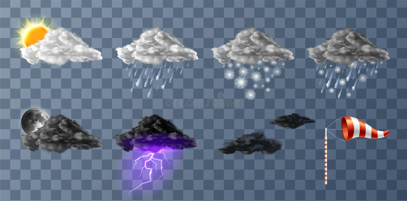 Набор значков meteo погоды реалистический бесплатная иллюстрация