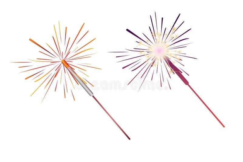 Набор значков Sparkler Иллюстрация стоковое изображение