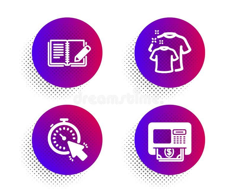 Набор значков Timer, Clean футболки и Feedback Знак Atm Управление временем, Прачечная рубашка, Книга с карандашом Вектор иллюстрация штока