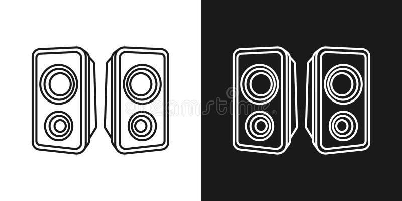 Набор из двух простых линейных музыкально-динамиков иллюстрация штока