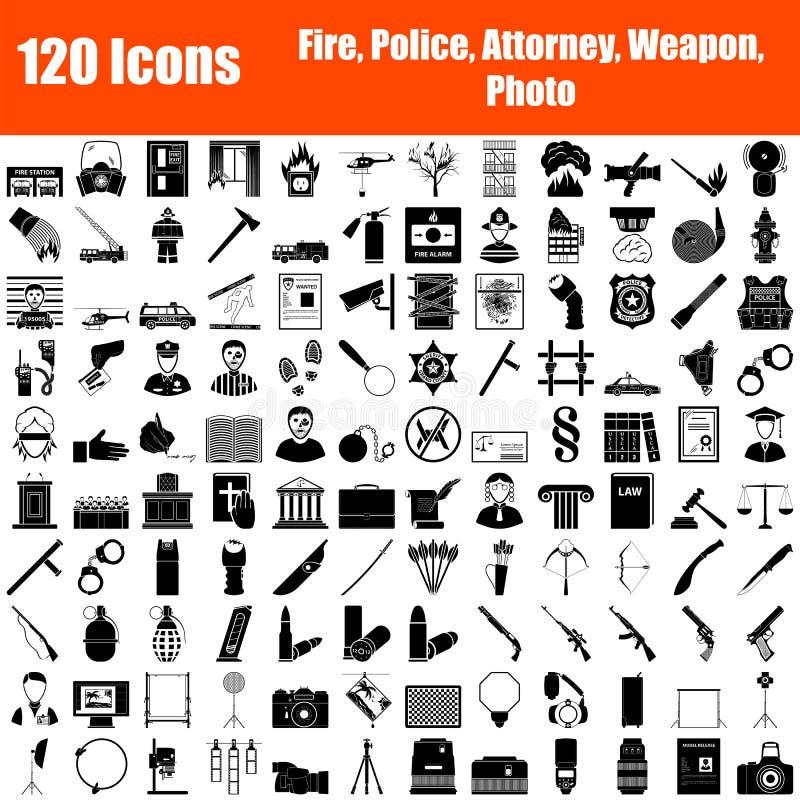 Набор из 120 значков иллюстрация штока