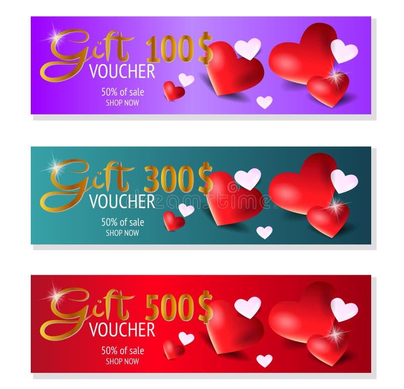 Набор из трех шаблонов подарочных ваучеров с сердцем, сертификатом Купон фонового дизайна, валюта Вектор иллюстрация штока