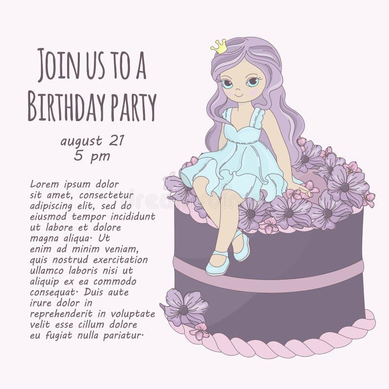 Набор иллюстрации вектора девушки дня рождения ПРИНЦЕССЫ ИСПЕЧЬ бесплатная иллюстрация