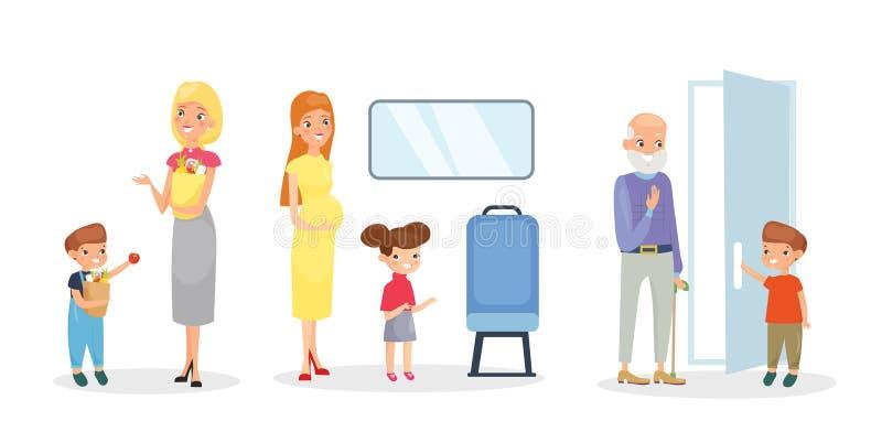 Набор иллюстрации вектора детей помогая взрослым, хорошим образам Вежливые милые дети, дверь отверстия для старика, помогая к бесплатная иллюстрация