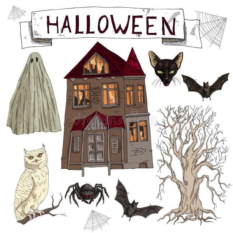 Набор иллюстрации вектора мультфильма сортировал паук аксессуаров хеллоуина, черный кот, сеть, летучую мышь, ландшафт со страшным иллюстрация вектора