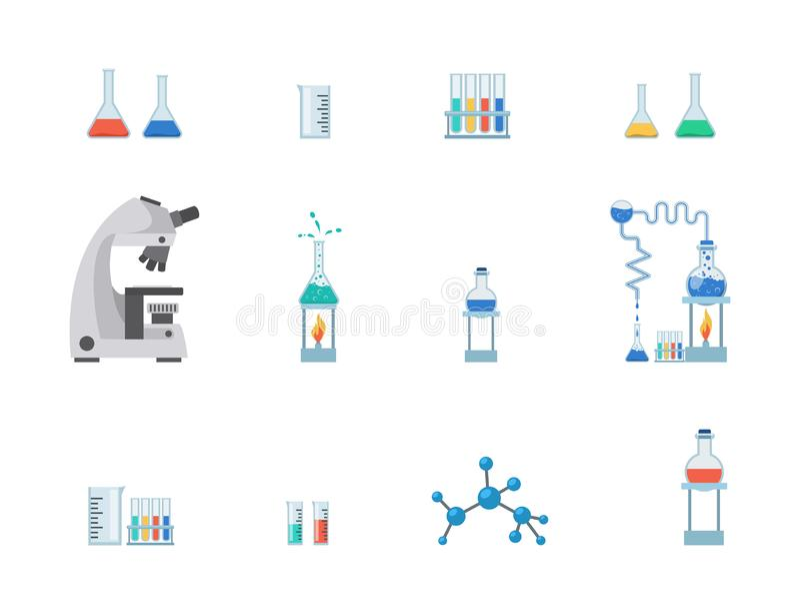 Набор иллюстрации вектора оборудования лаборатории плоский Пробирки, beakers химии с жидкостями, измеряя чашкой изолированной на  иллюстрация вектора
