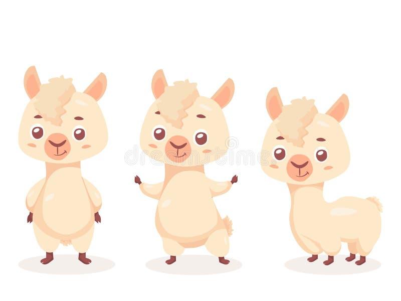 НАБОР иллюстрации вектора персонажа из мультфильма альпаки Милый и смешной талисман иллюстрация вектора