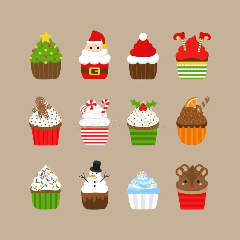 Набор иллюстрации вектора пирожных рождества бесплатная иллюстрация