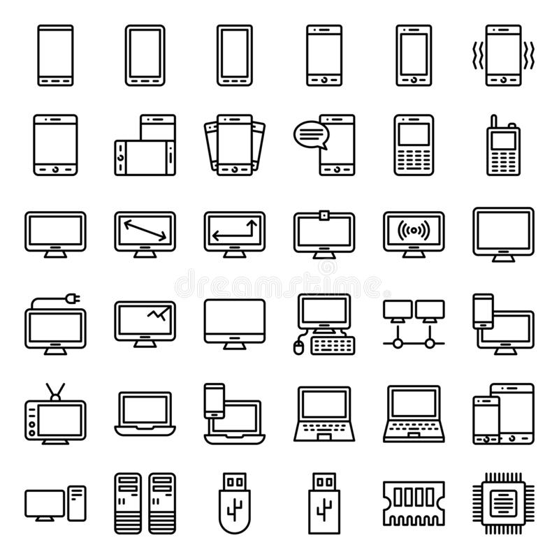 Набор иллюстрации vetor электронного устройства, линия ход значка editable иллюстрация штока