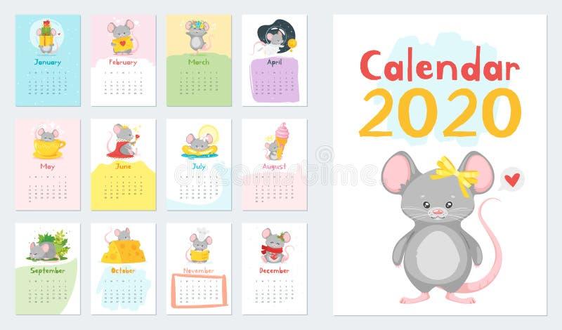 Набор иллюстраций вектора календаря детей иллюстрация штока