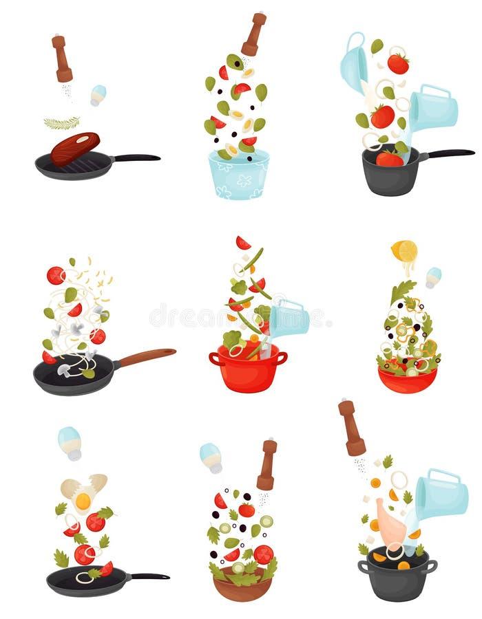 Набор иллюстраций вектора процесса варить салат, суп, мясо жарить в духовке и рыб иллюстрация штока