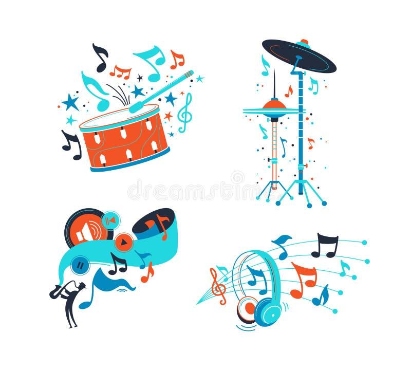 Набор иллюстраций музыкальных инструментов выстукивания плоский бесплатная иллюстрация