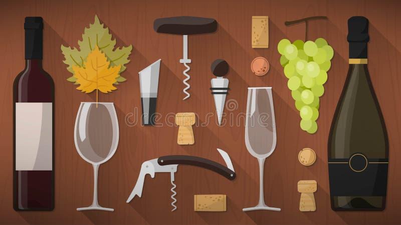 Набор инструментов дегустации вин иллюстрация штока