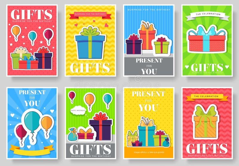 Набор информационных карт подарка Шаблон flyear, журналы сюрприза, плакаты, обложка книги, знамена Коробка infographic иллюстрация вектора