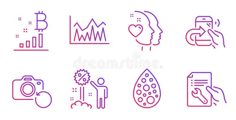 Набор искусственные цвета, диаграмма Bitcoin и значки скидки Звонок сердца, доли и знаки вклада r бесплатная иллюстрация