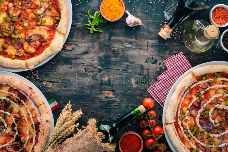 Набор итальянской пиццы E стоковое фото rf