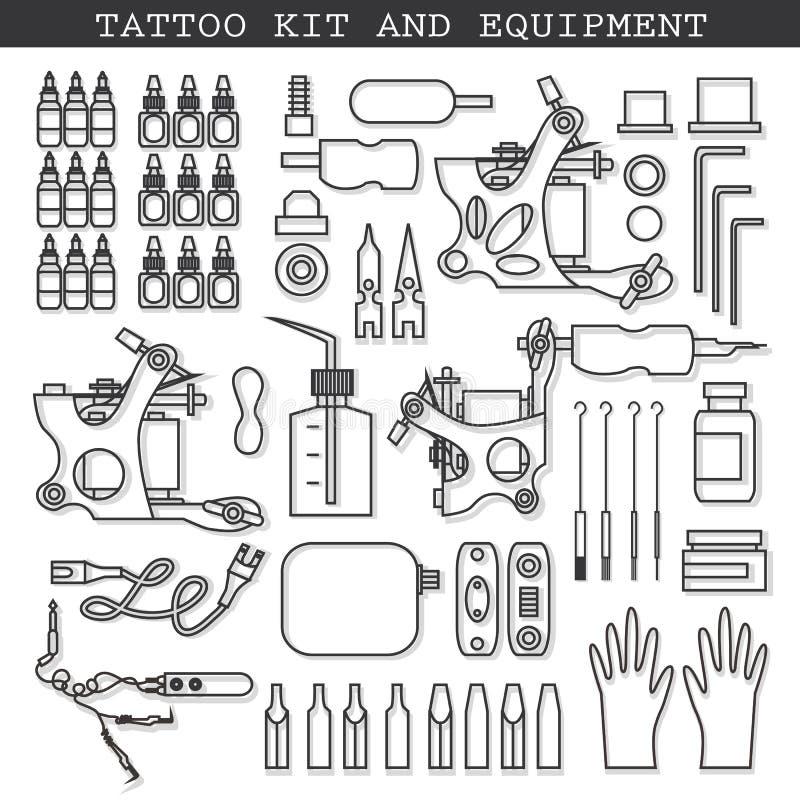 Набор и значки татуировки иллюстрация штока