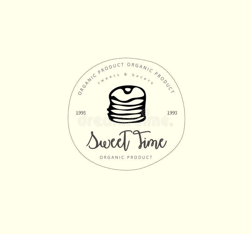 Набор и элементы логотипа руки вычерченные Иллюстрация цифров, пекарня doodles элементы, предпосылка праздников безшовная E иллюстрация штока