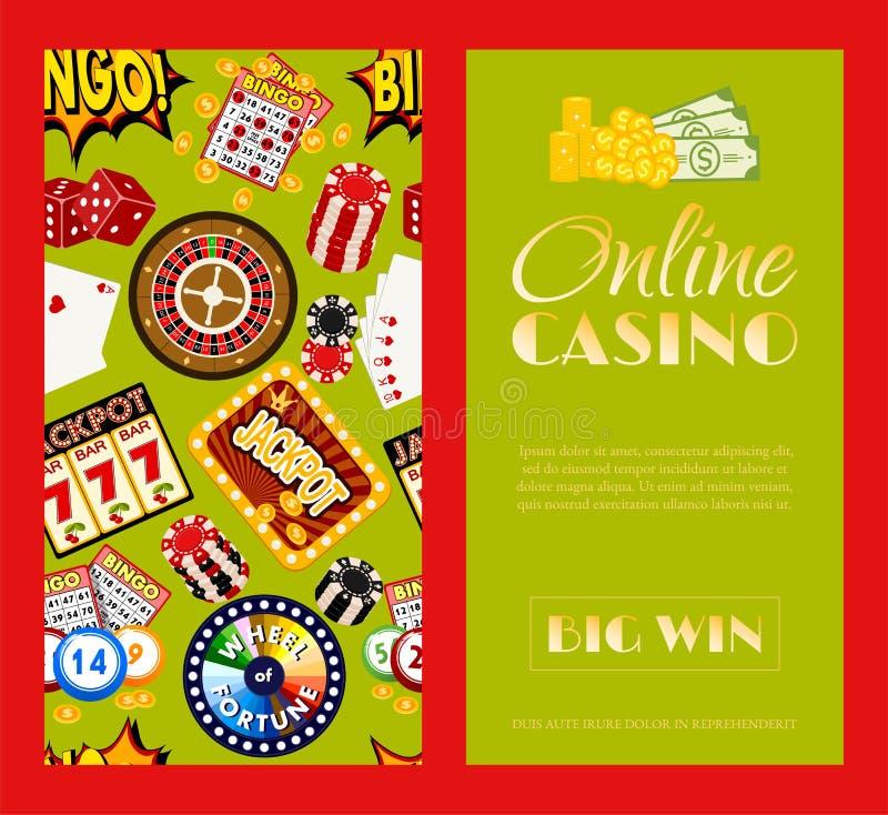 Набор казино онлайн иллюстрации вектора знамен Включает рулетку, обломоки казино, игральные карты, выигрывая джэкпот Мешок иллюстрация вектора