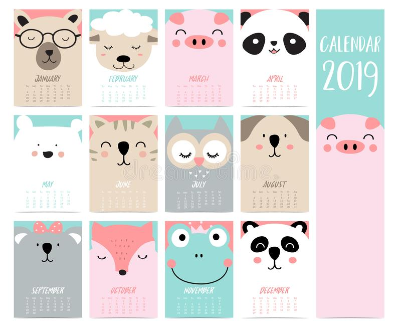 Набор 2019 календаря Doodle с медведем, свиньей, пандой, овцой, котом, сычом, лисой, f иллюстрация вектора