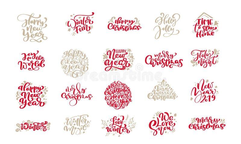 Набор каллиграфии года сбора винограда веселого рождества помечая буквами фразы текста вектора с зимой рисуя скандинавский дизайн иллюстрация вектора