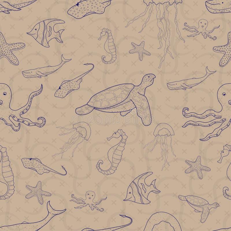 Набор картины безшовный морского животного день Мирового океана стиль дизайна чертежа руки doodle r иллюстрация штока