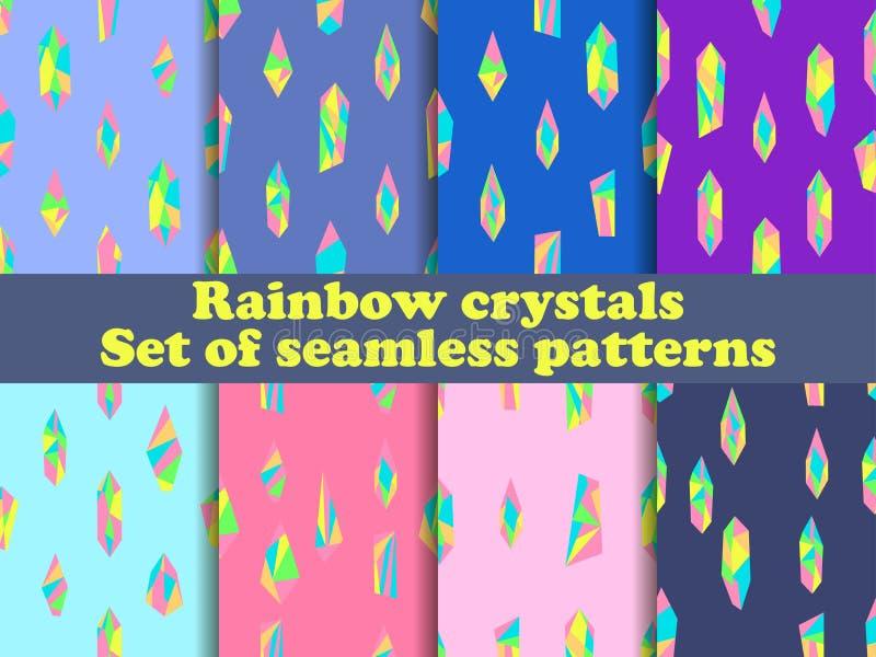 Набор картины кристаллов радуги безшовный Предпосылка для рекламного материала и упаковочной бумаги вектор иллюстрация вектора