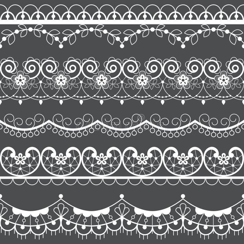 Набор картины ретро шнурка безшовный, белое украшение, орнаментальный повторяющийся дизайн с цветками - дизайн ткани бесплатная иллюстрация