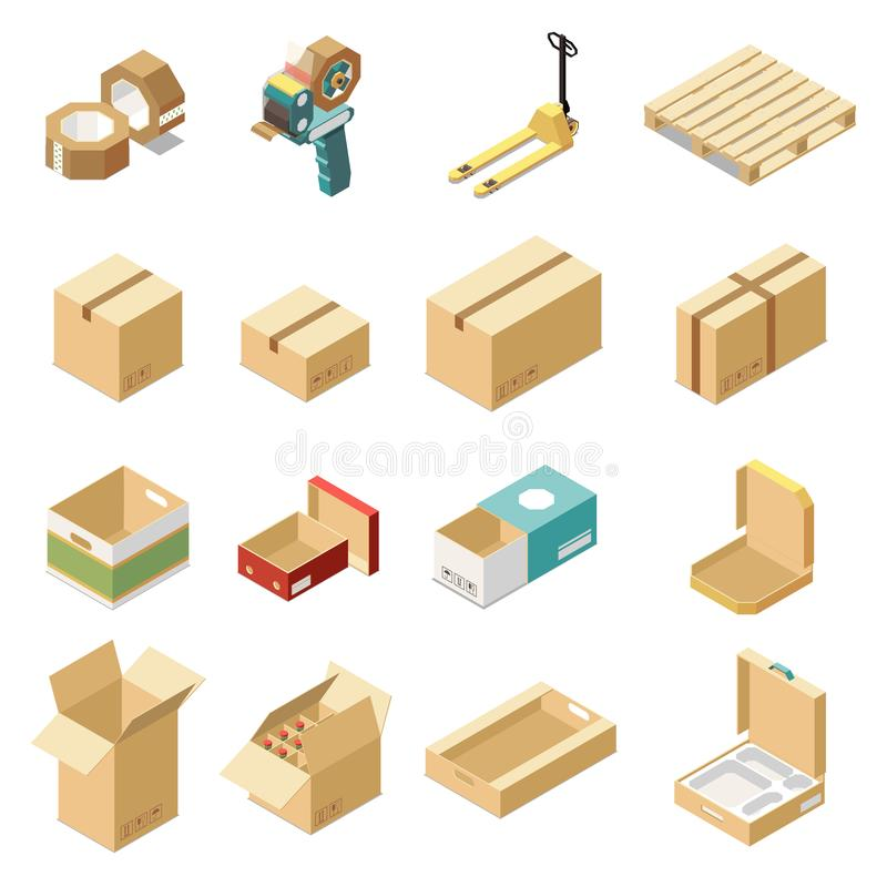Набор картонных коробок равновеликий иллюстрация вектора