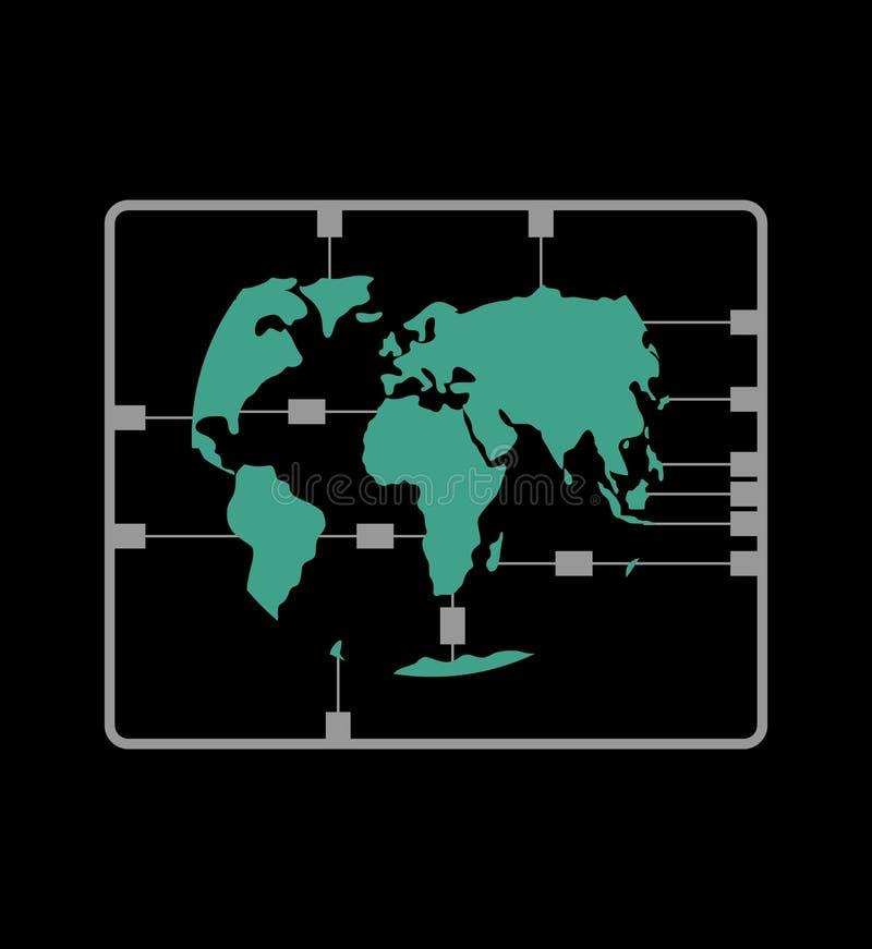 Набор карты земли пластичный модельный материки иллюстрация штока