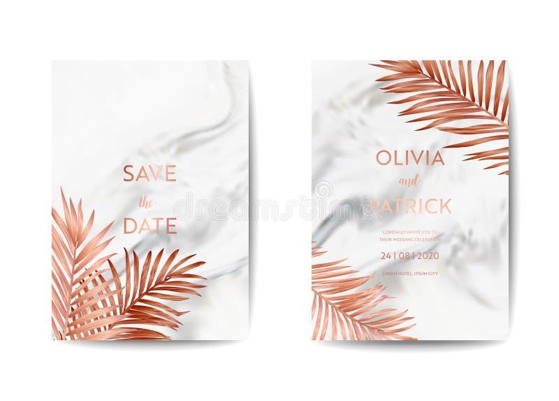 Набор карты приглашения свадьбы, сохраняет дату с ультрамодной мраморной предпосылкой текстуры и ладонь золота тропическая выходи иллюстрация штока