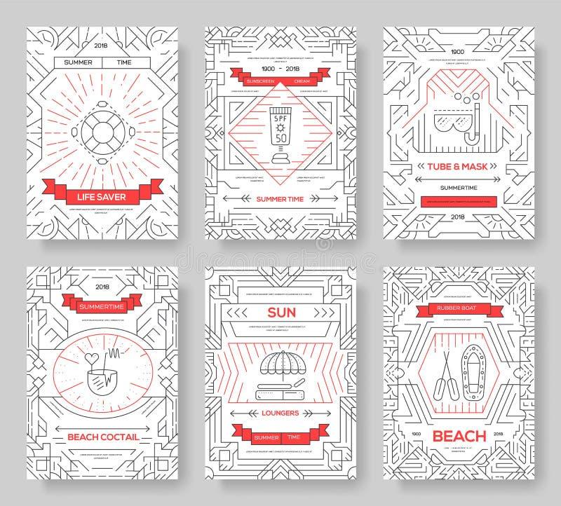 Набор карт брошюры вектора времени vecetion лета Шаблон flyear, журналы экологичности, плакат, обложка книги, знамена иллюстрация штока