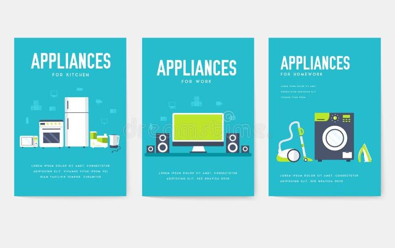 Набор карт бытовых техник Шаблон flyear, журналы электроники, плакаты, обложка книги, знамена Приборы infographic иллюстрация вектора
