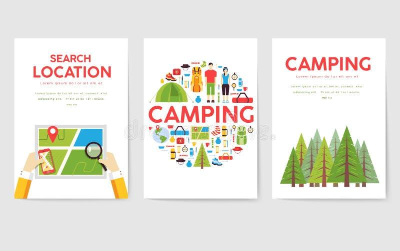 Набор карт похода Шаблон flyear, журналы, плакаты, обложка книги, знамена Tourl Trave infographic иллюстрация штока