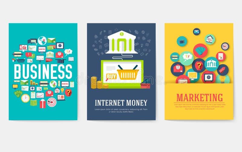 Набор карт элементов дела Выходя на рынок шаблон flyear, журналы, обложка книги, знамена, буклет идея infographic бесплатная иллюстрация