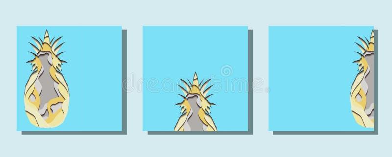 Набор квадратных карт с иллюстрацией бумаги отрезка ананаса из бумаги Карта с разнослоистым влиянием 3d o иллюстрация вектора