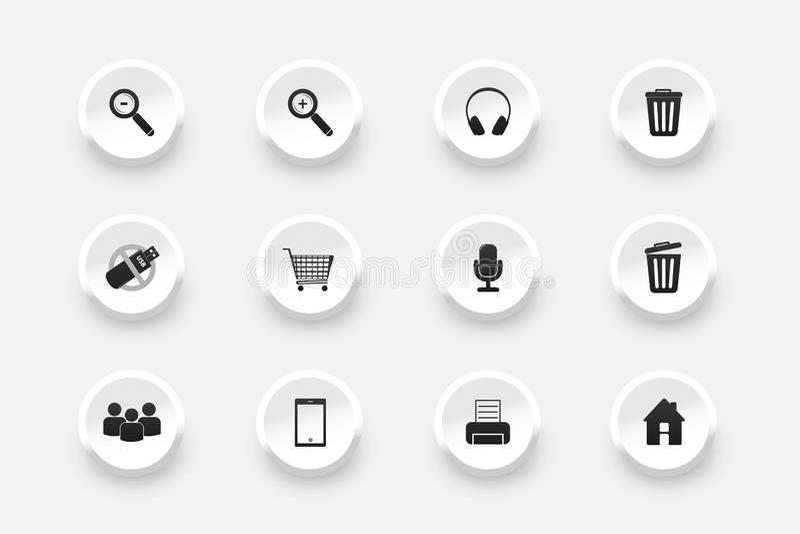 Набор кнопки - значки для веб-дизайна - иллюстрации вектора - изолированные на белой предпосылке иллюстрация штока
