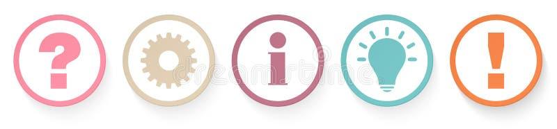 Набор 5 кнопок плана спрашивает идею данным по работы и ответить ретро цветам иллюстрация штока