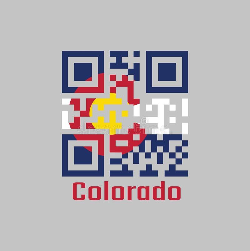 """Набор кода QR цвет флага Колорадо Государства Америки, 3 горизонтальных нашивки голубые белого и голубой круговой красный цвет """"c иллюстрация штока"""