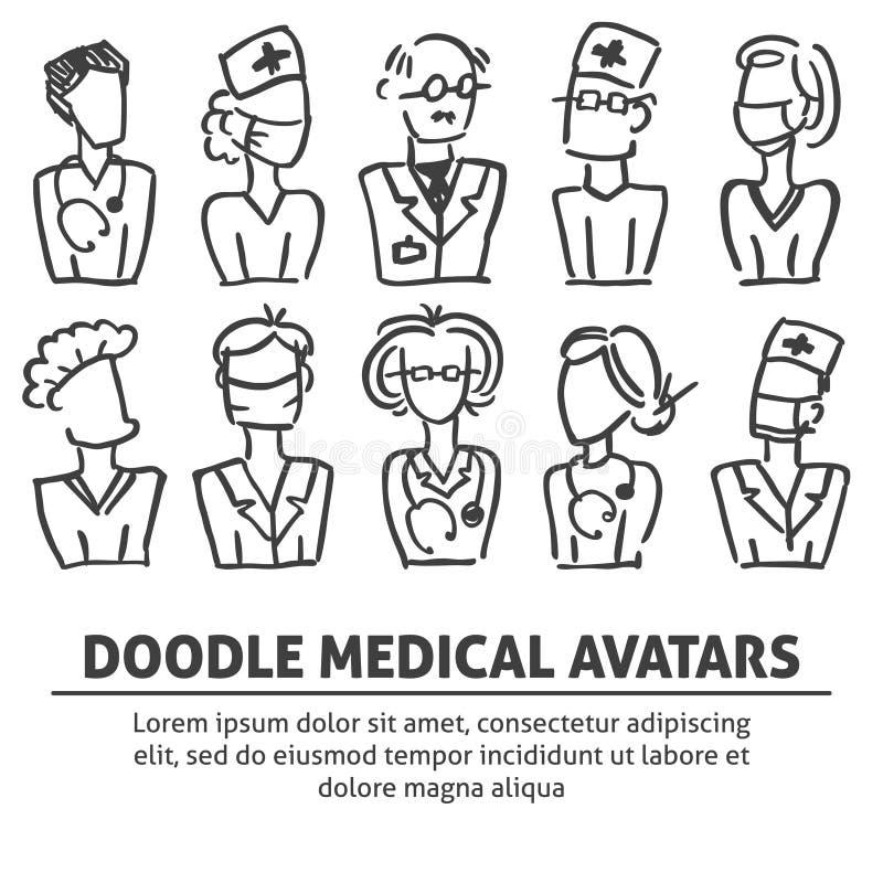 Набор команды воплощения doodle вектора медицинской: терапевт, доктор, хирург, медсестра для больницы Шаблон вектора для летчика, иллюстрация вектора