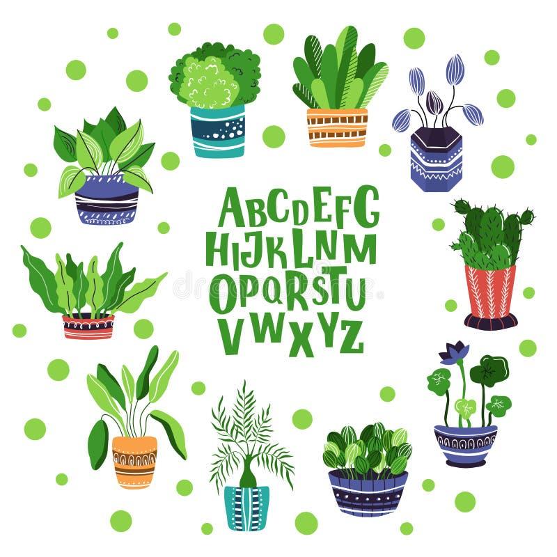 Набор комнатных растений вектора бесплатная иллюстрация
