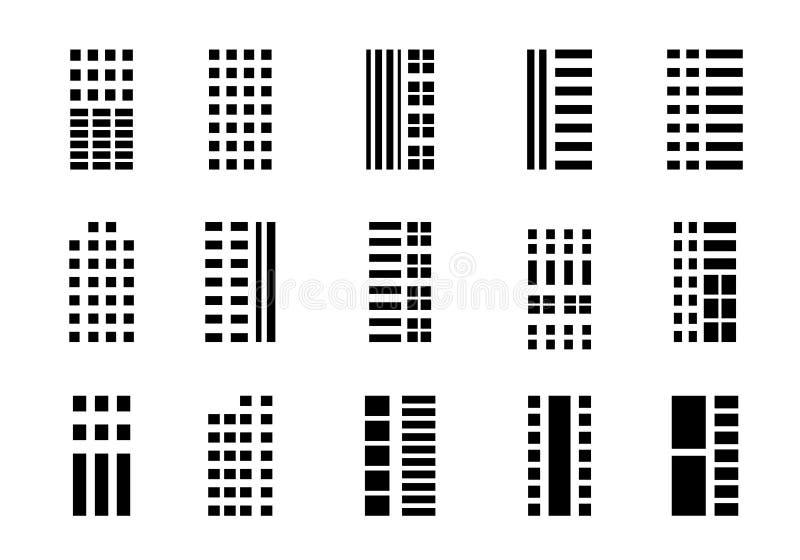 Набор компании значков на белой предпосылке, черной линии построения собрании вектора, изолированной иллюстрации дела иллюстрация вектора