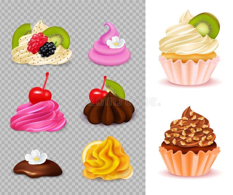 Набор конструктора пирожного реалистический бесплатная иллюстрация