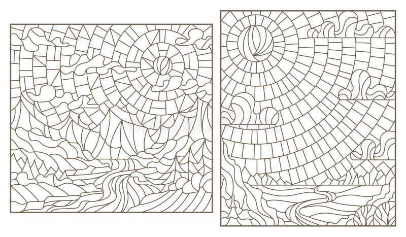 Набор контура с иллюстрациями ландшафты горы цветного стекла, темные контуры на белой предпосылке иллюстрация штока