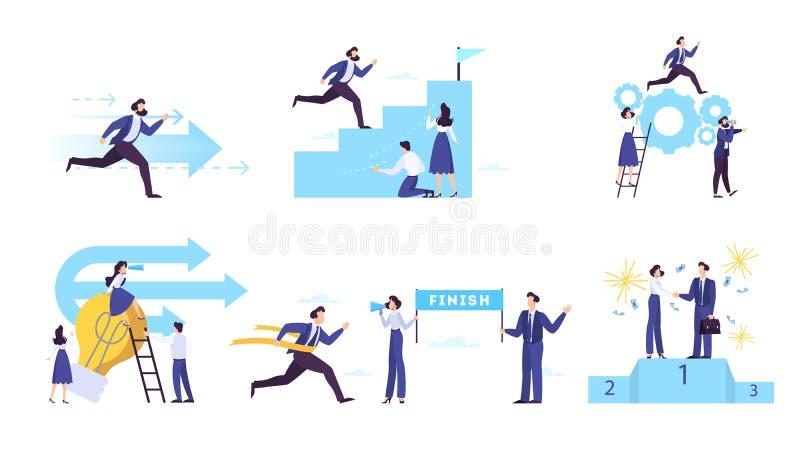 Набор концепции знамени сети устремленности и цели бизнеса иллюстрация штока