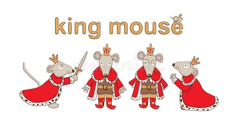 Набор короля мыши r иллюстрация штока
