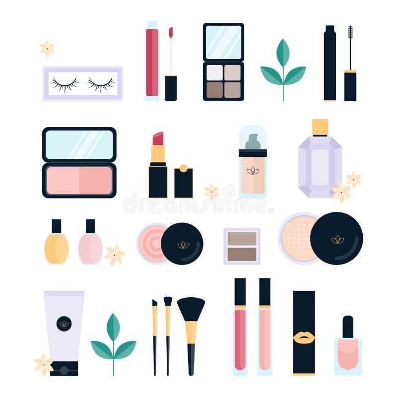 Набор косметик Собрание щетки и губной помады макияжа иллюстрация штока
